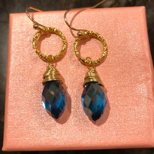 Blue crystal handmade earrings